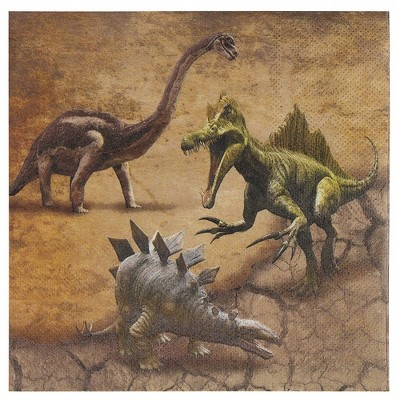 Juvale 100-Pack Brown Jurassic Dinosaur Disposable Paper Napkins Party Supplies 6.5 x 6.5 In