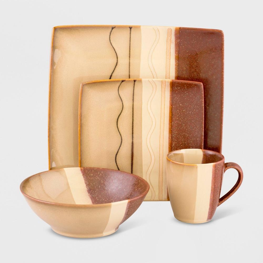16pc Stoneware Zanzibar Dinnerware Set Brown - Sango, Multi-Colored