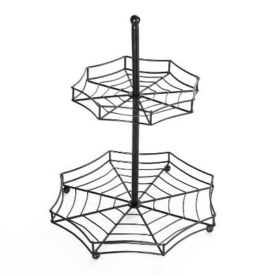 Lakeside Halloween Spider Web 2-Tier Serving Tray - Spooky Tabletop Accent