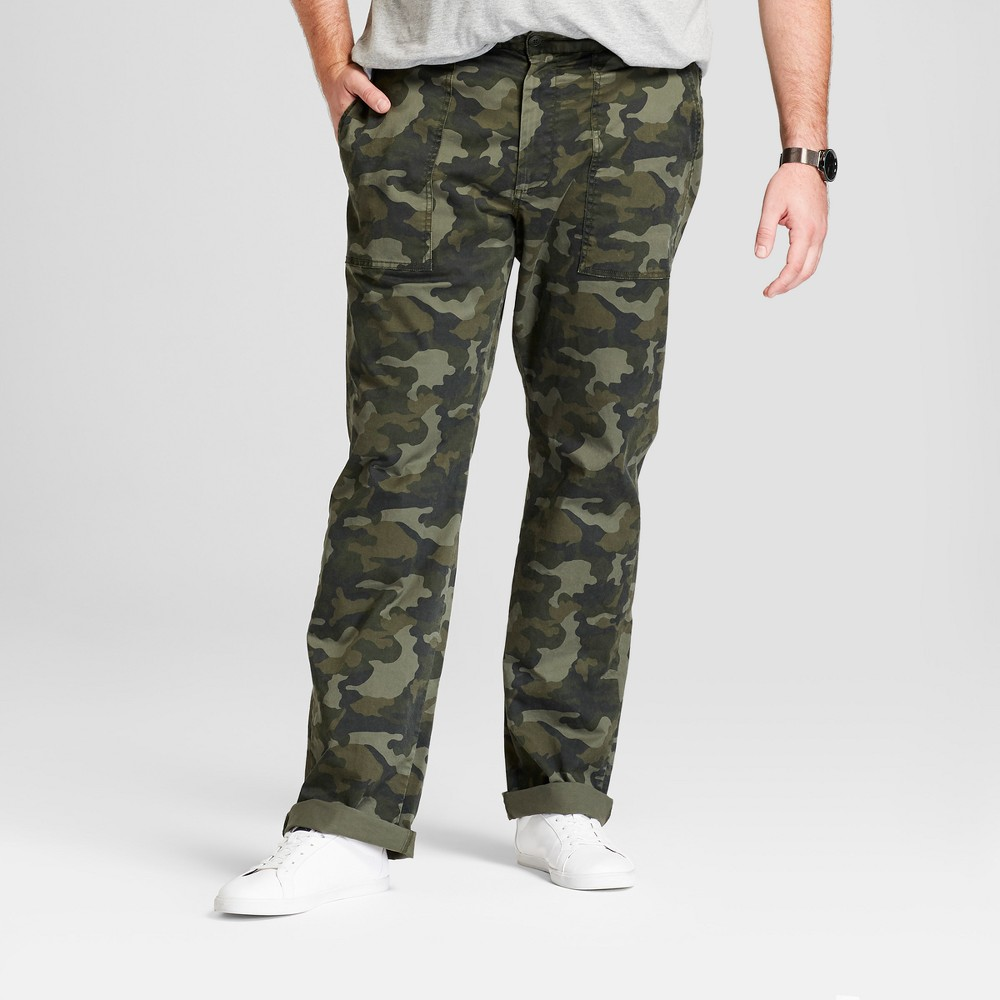 Men's Big & Tall Utility Cargo Pants - Goodfellow & Co Camo 54x32, Green
