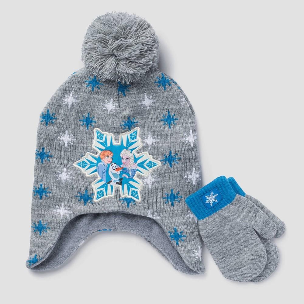 Image of Toddler Girls' Disney Frozen Hat & Mittens Set - Gray One Size, Kids Unisex