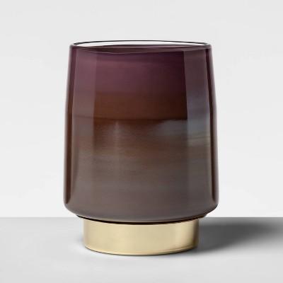 "6.9"" X 5.2"" Glass Hurricane Pillar Candle Holder Purple   Opalhouse by Opalhouse"