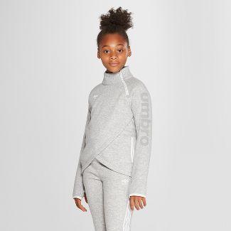 Umbro Girls' Asymmetrical Fleece Pullover - Heather Grey S