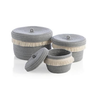 Assorted Set of 3 Round Dharma Organizer Baskets - Shiraleah