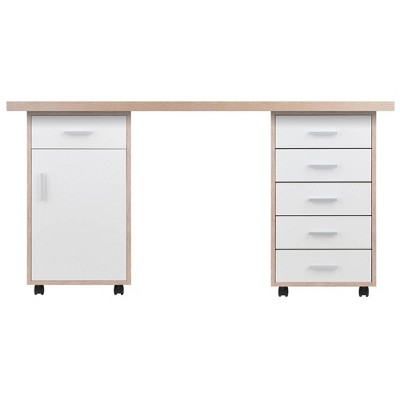 3pc Kenner Set Modular Desk With 6 Drawers Reclaimed Wood - Winsome