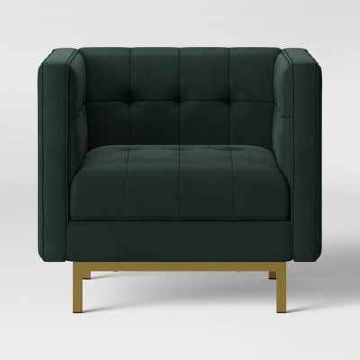 Cologne Tufted Track Arm Chair Emerald Green - Project 62™