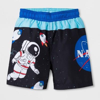 Toddler Boys' NASA Swim Trunks - Black 2T