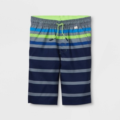 Boys' Striped Swim Trunks - Cat & Jack™ Gray