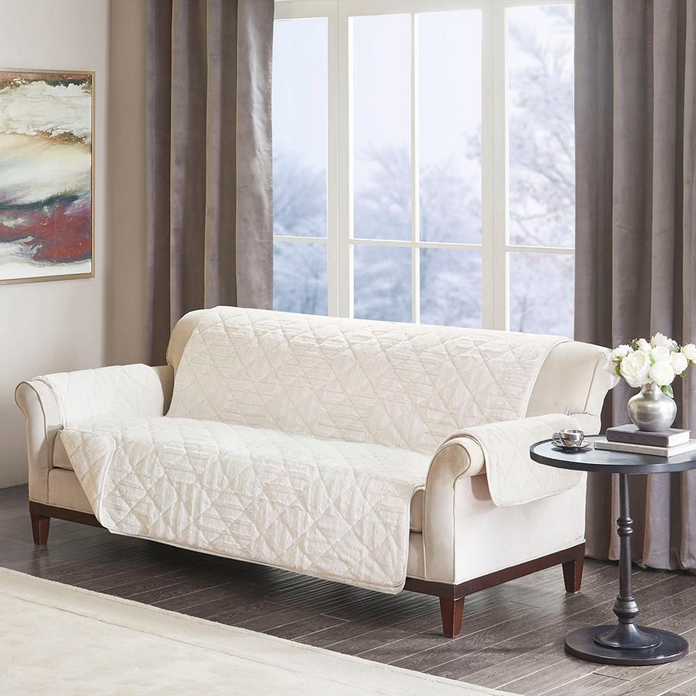 Polar Checkboard Long Faux Fur Sofa Protector Ivory