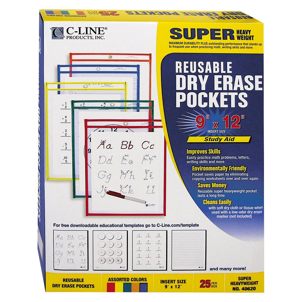 Image of C-Line Reusable Dry Erase Pockets, 9 x 12, Assorted Primary Colors, 25/Box, Clear