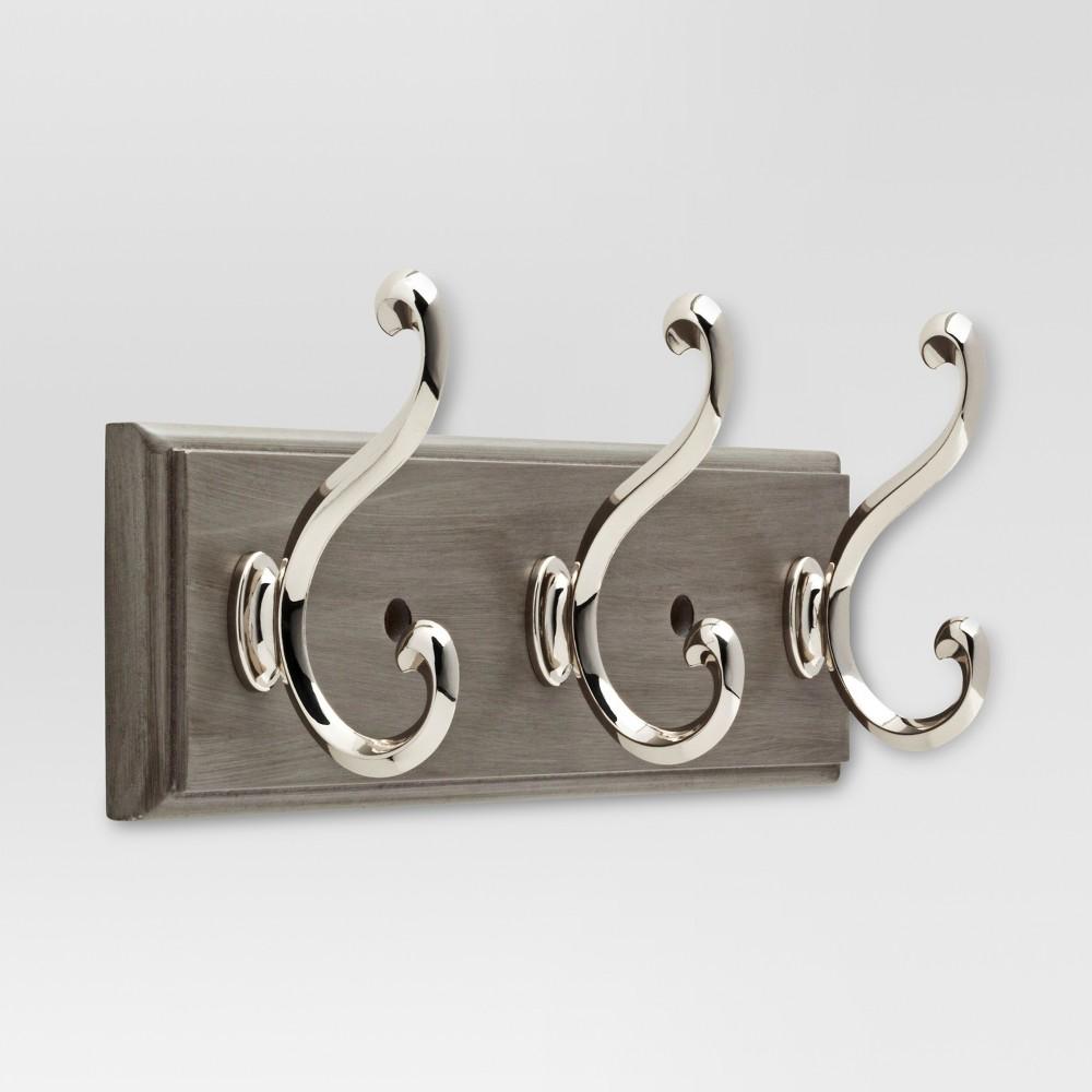 Hook Rack - Painted Grey & Polished Nickel - Threshold, Gray/Nickel