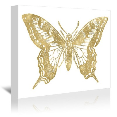 Americanflat Butterfly 2 Gold On White by Amy Brinkman Wrapped Canvas