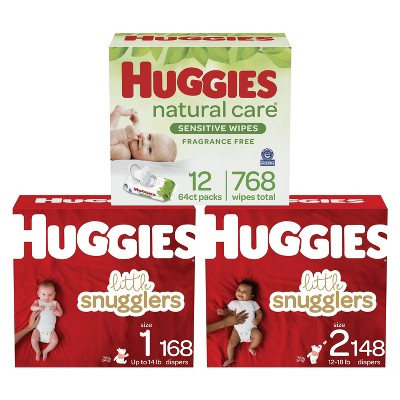 Huggies Little Snugglers Baby Diapers Size 1 - 168ct + Size 2 - 148ct + Natural Care Sensitive Baby Wipes - Bundle