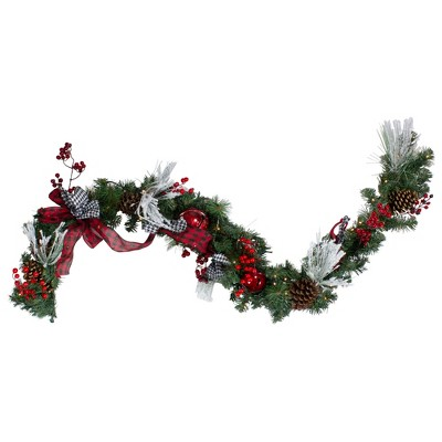 """Northlight 6' x 12"""" Pre-Lit Plaid Bows and Red Berries Artificial Christmas Garland - Warm White Lights"""