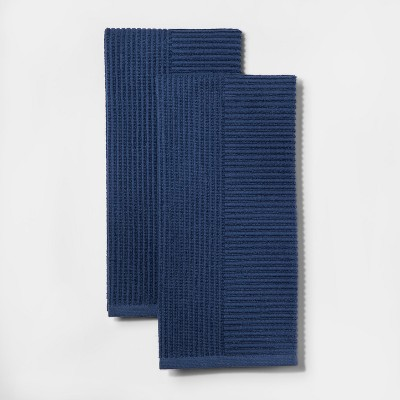 2pk Rib Terry Kitchen Towel Blue - Project 62™