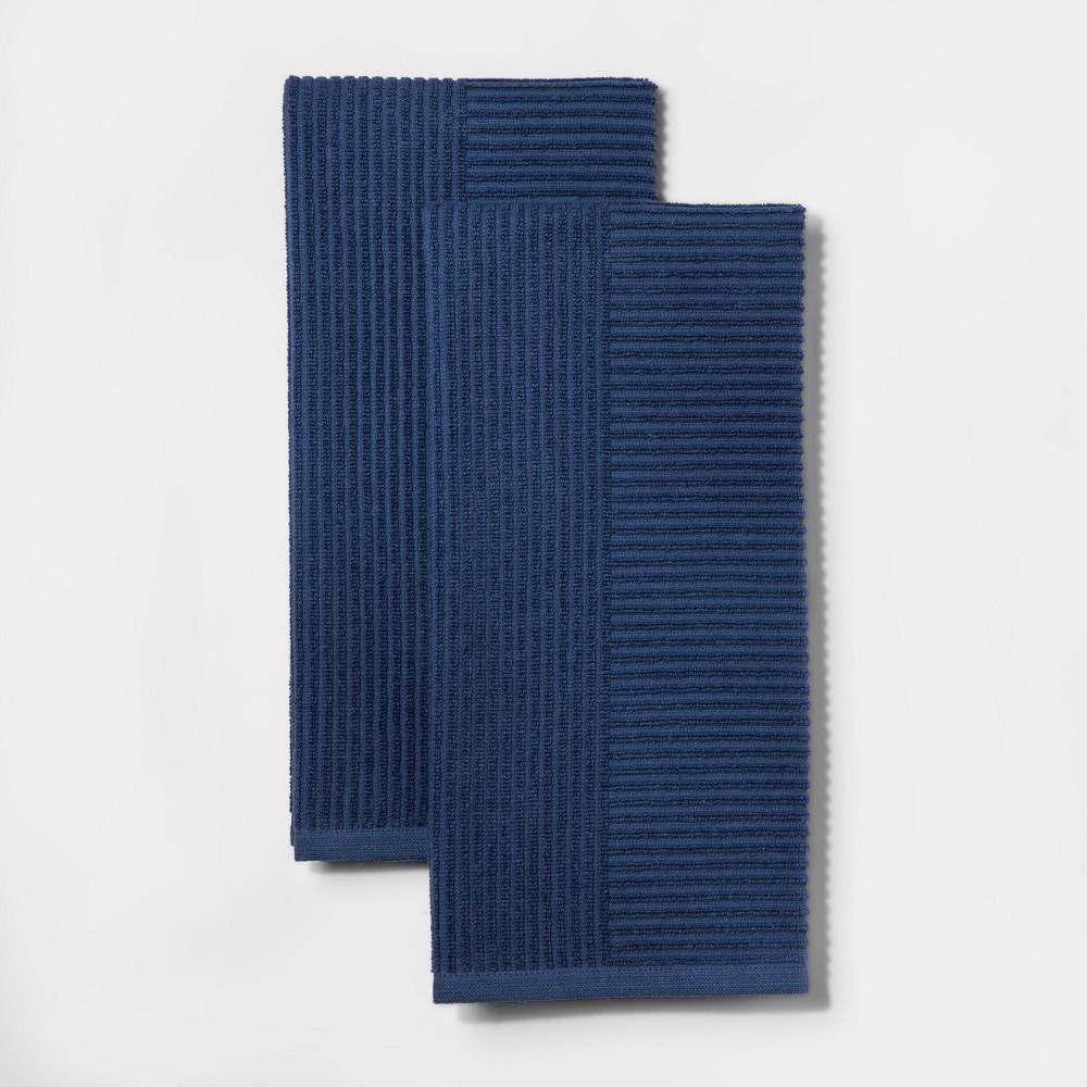 Blue Rib Terry Kitchen Towel 2pk - Project 62