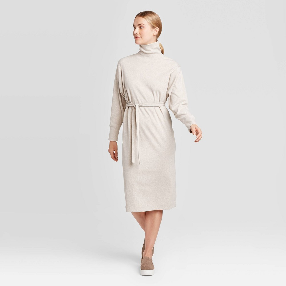 Women's Long Sleeve Mock Turtleneck T-Shirt Midi Dress - Prologue Cream L, Ivory was $32.99 now $23.09 (30.0% off)