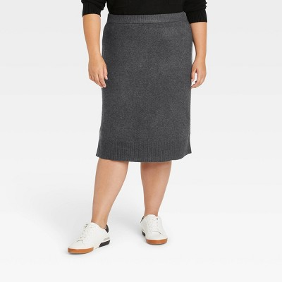 Women's Mid-Rise Midi Sweater Skirt - A New Day™