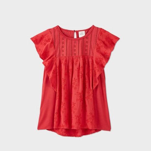 Women's Flutter Short Sleeve Blouse - Knox Rose™ Red - image 1 of 2