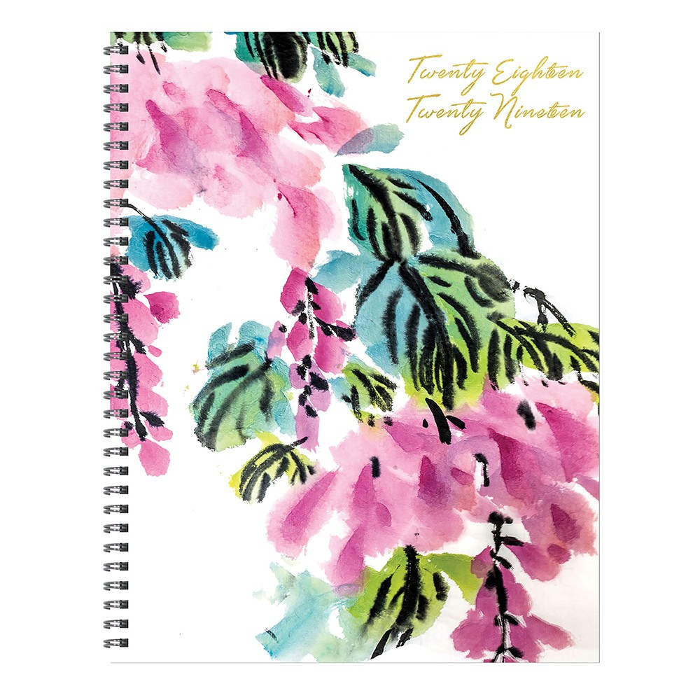2018 - 2019 Academic Spiral Monthly Planner, Floral