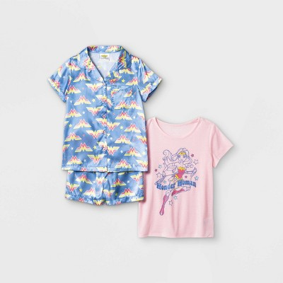 Girls' Wonder Woman 3pc Pajama Set - Purple
