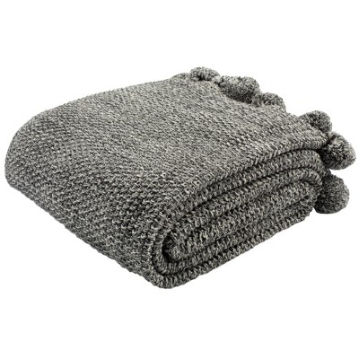 Pom Pom Knit Throw Blanket Dark Gray - Safavieh