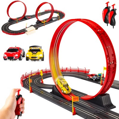 Best Choice Products Electric Slot Car Race Track Set Kids Toy w/ 2 Cars, 2 Controllers, Customizable Courses, 360 Loops