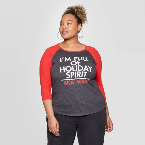 Women's Holiday Spirit Raglan Plus Size Short Sleeve T-Shirt - Modern Lux (Juniors') - Heather Gray - image 1 of 2