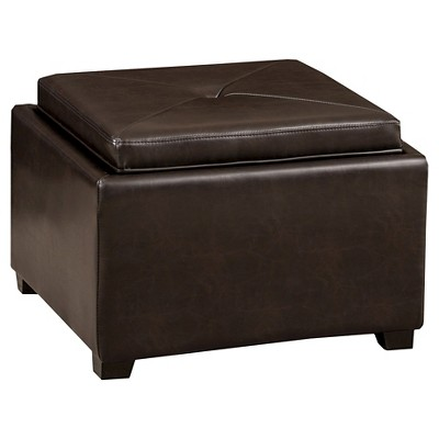 Andrea Tray Top Storage Ottoman Brown   Christopher Knight Home
