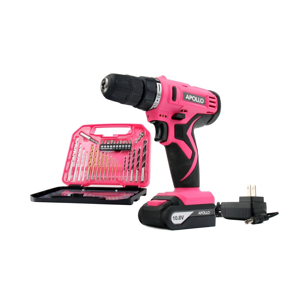 Apollo Tools 10.8 Volt DT4937P Cordless Drill with 30pc Accessory Set Pink