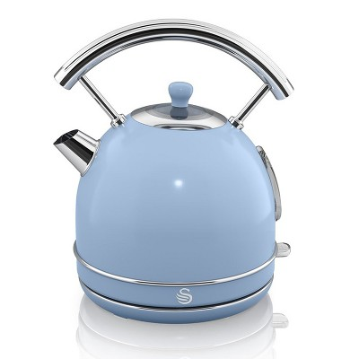 Salton SK34020BLN Swan Retro Classic Design Dome Style 1.70 Liter Electric Iron Tea Kettle With Automatic Shutoff And 360 Degree Base, Blue