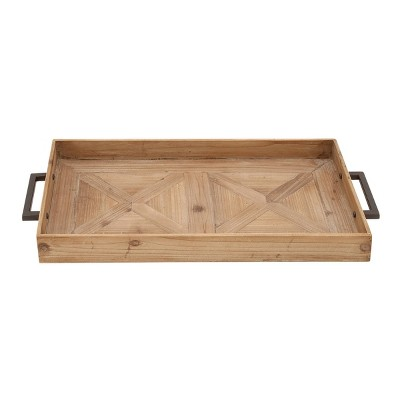 "32"" Farmhouse Fir Wood Tray with Iron Handles Brown - Olivia & May"