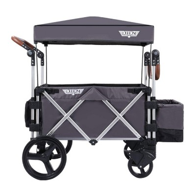 Keenz 7S Push Pull Baby Collapsible Folding Wheeled Stroller Wagon with Protective Canopy Cover, Cupholder, and Cooler for 2 Toddler Kids, Gray