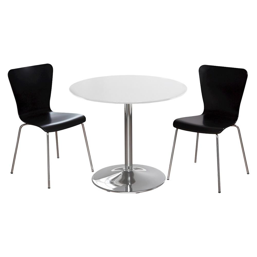 Hillsboro Dining Set White/Black 3 Piece - Tms