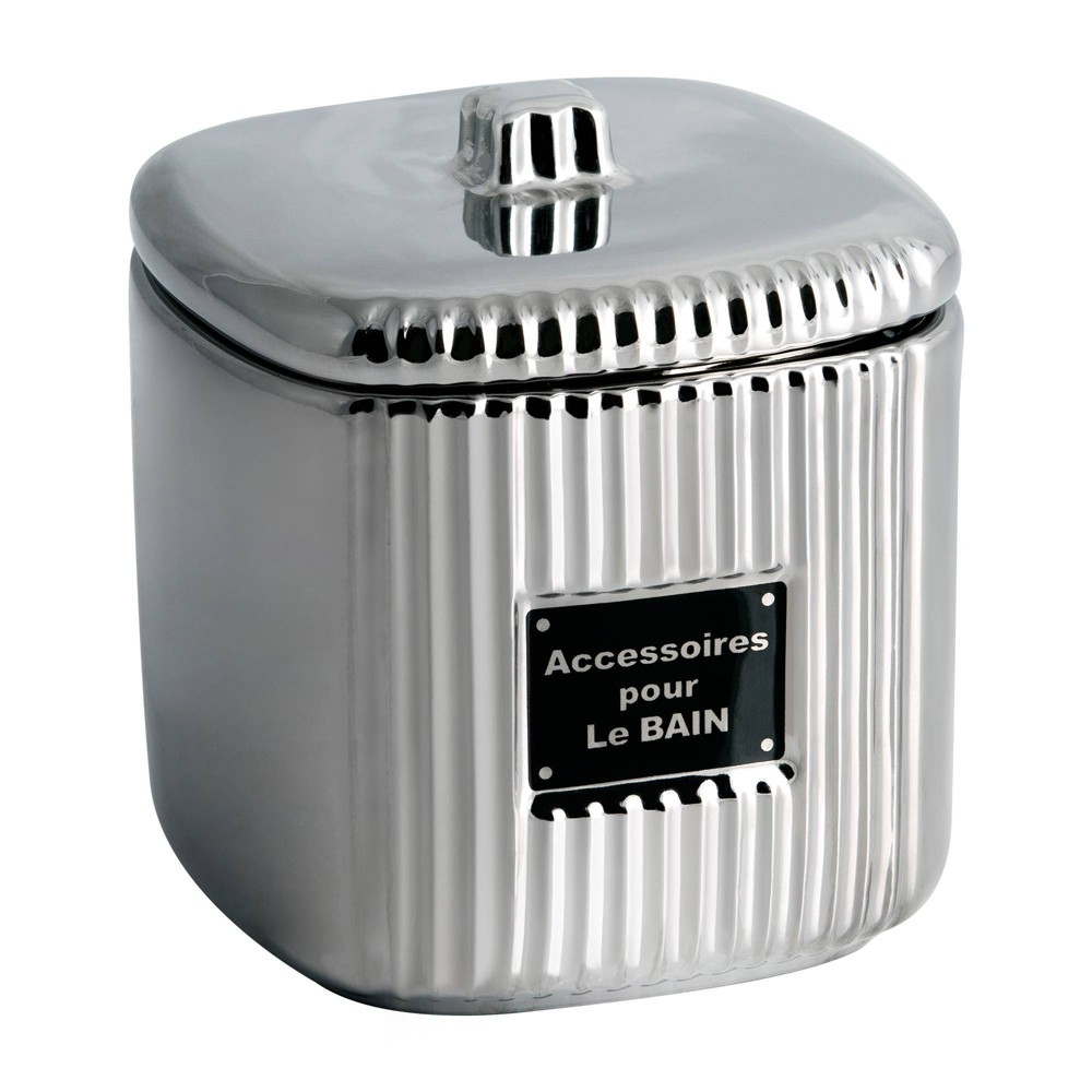 Le Bain Cotton Ball Jar Silver Allure Home Creations