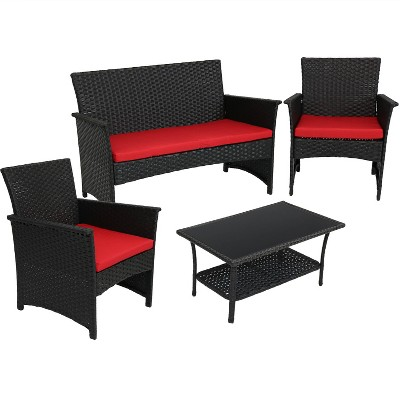 Arklow 4pc Rattan Outdoor Patio Furniture Set With Cushions   Red    Sunnydaze Decor