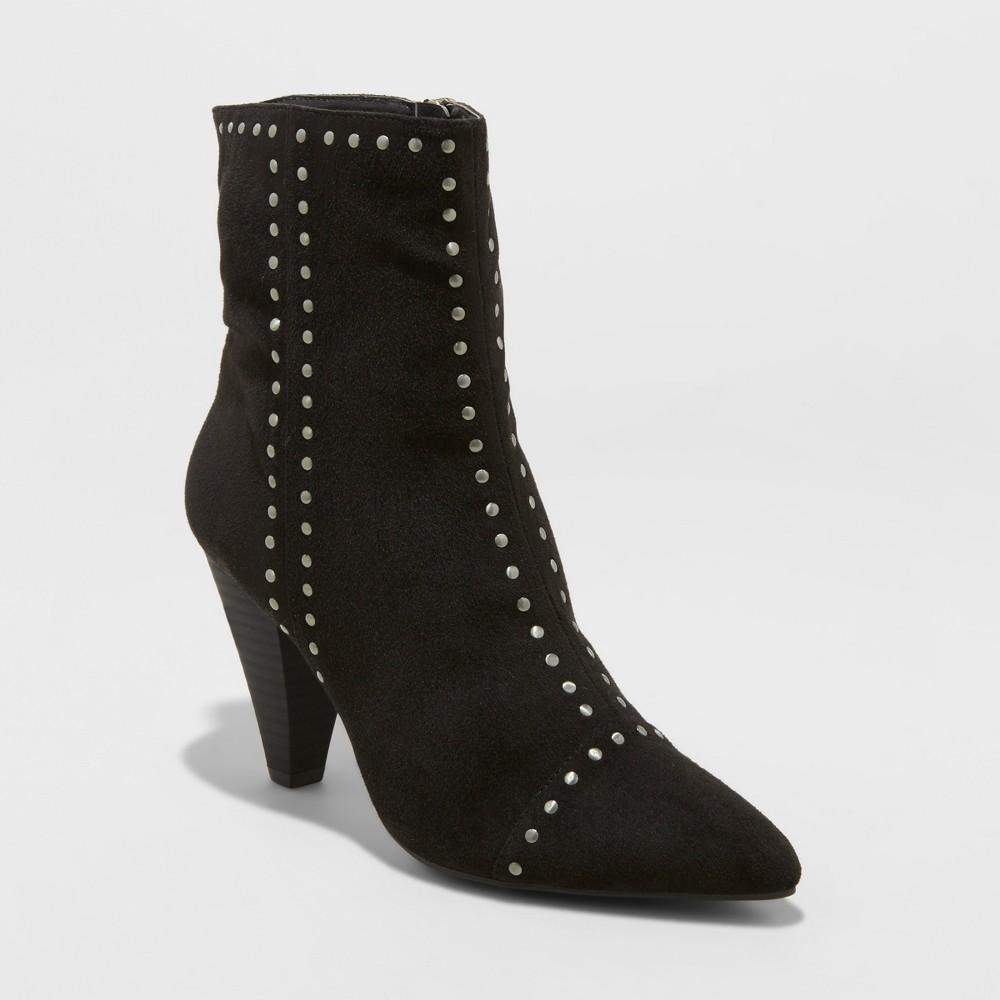 Women's Lona Microsuede Studded Heeled Bootie - Universal Thread Black 8