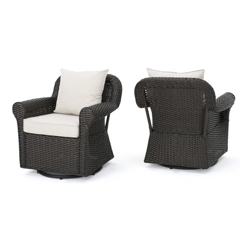 Amaya Set of 2 Wicker Swivel Rocking Chair - Dark Brown - Christopher Knight Home - image 1 of 4