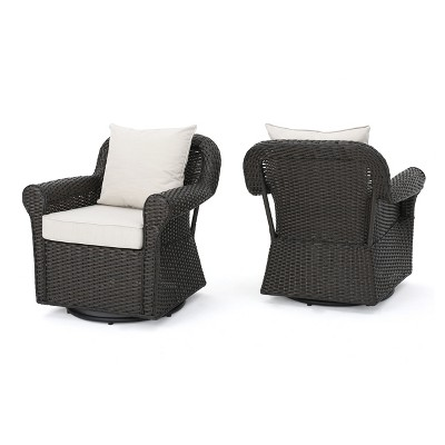 Amaya Set Of 2 Wicker Swivel Rocking Chair   Dark Brown   Christopher  Knight Home
