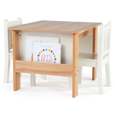 3pc Journey Collection Table and Book Rack with Chairs Natural/White - Humble Crew