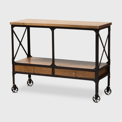 Alves Wood and Finished Metal Wheeled Console Table with Drawers Brown/Bronze - BaxtonStudio