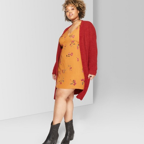 Women's Plus Size Long Sleeve V-Neck Woven Dress - Wild Fable™ Mustard Yellow - image 1 of 3