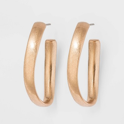 Twisted Oval Hoop Earrings - Universal Thread™ Gold