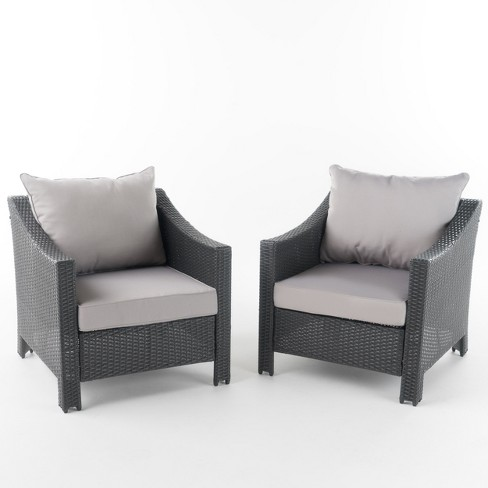 Antibes Set of 2 Wicker Club Chair with Cushions - Christopher Knight Home - image 1 of 4