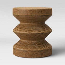 Geometric Faux Wood Patio Accent Table Walnut - Project 62™