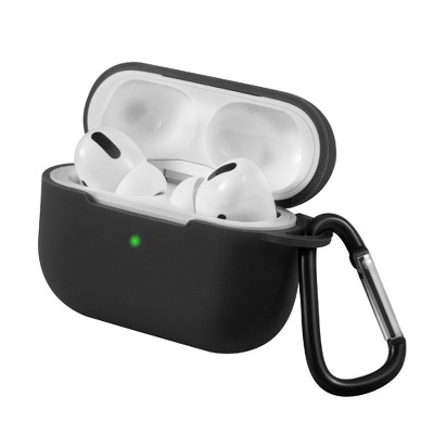 For AirPods Pro Case Silicone Protective Cover Skin with Keychain for Apple Airpod Pro 3 3rd Gen 2019 Wireless Charging Earbuds Case, Black by Insten