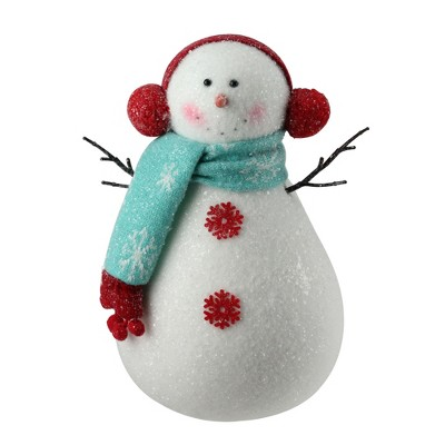 """Napco 10"""" White and Red Snowman in Scarf Christmas Figure Decoration"""