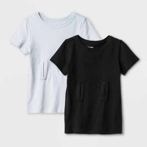 Toddler Boys' Adaptive Short Sleeve Undershirt 2pk - Cat & Jack™ Gray/Black - image 1 of 1