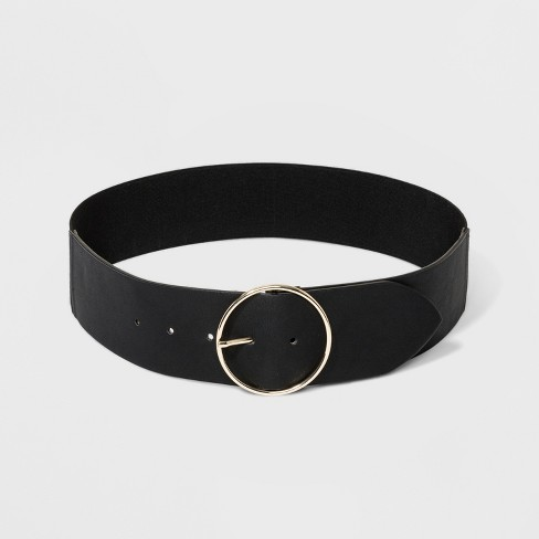 Women's Round Buckle with Stretch Belt - A New Day™ Black - image 1 of 2
