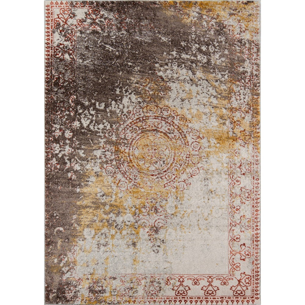 Rust Shapes Loomed Area Rug 9'3